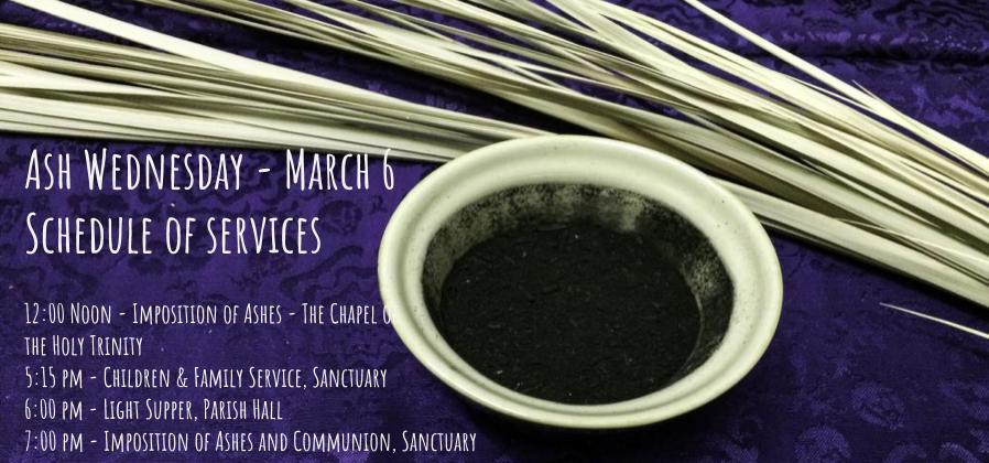 Ash Wednesday March 6 Schedule